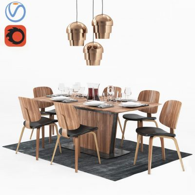 BoConcept Milano and Aarhus – Table & Chair 3D Model