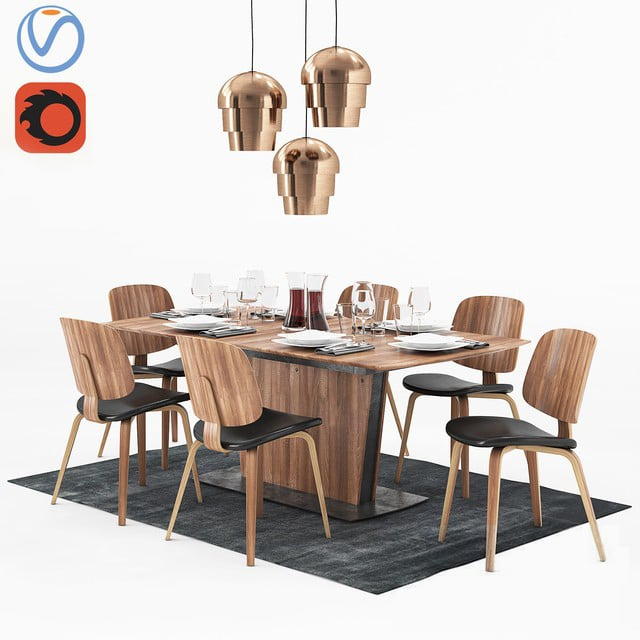 BoConcept Milano and Aarhus - Table & Chair 3D Model