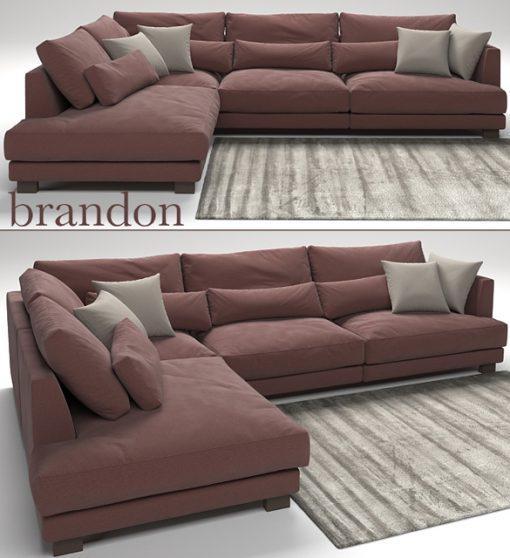 Brandon Sofa Set-01 3D Model 2
