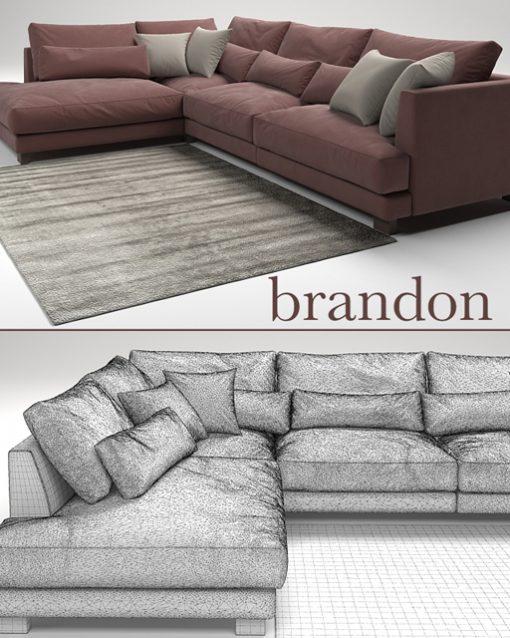 Brandon Sofa Set-01 3D Model 3
