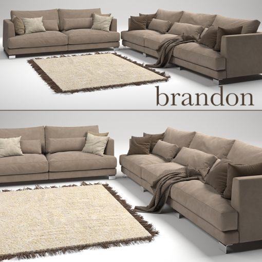 Brandon Sofa Set-02 3D Model 2