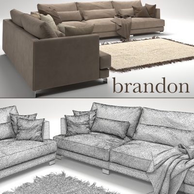 Brandon Sofa Set-02 3D Model