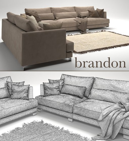 Brandon Sofa Set-02 3D Model 3