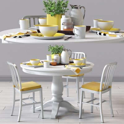 C&B Delta Dinning Chair and Avalon Table – Table & Chair 3D Model