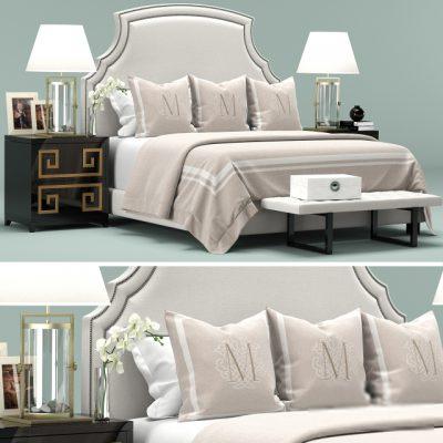 California Upholstered White Headboard Bed 3D Model