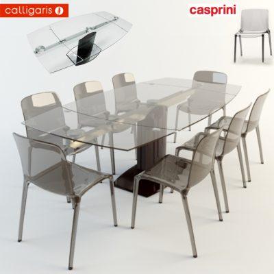 Calligaris Cosmic Table & Casprini Chair 3D Model