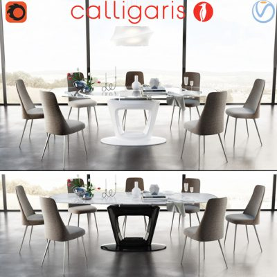 Calligaris Table & Chair 3D Model