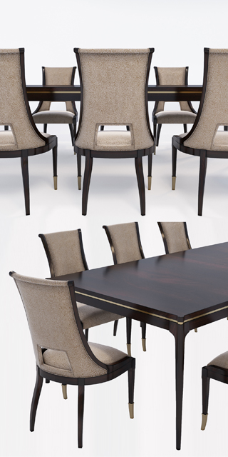 Caracole Open Invitation and In Good Company - Table & Chair 3D Model 3