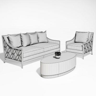 Caracole Sofa Set-02 3D Model