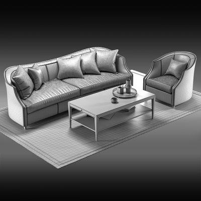Caracole Sofa Set-05 3D Model 2
