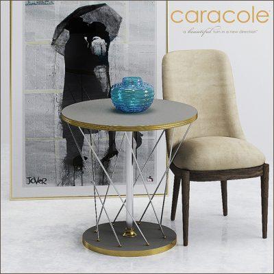 Caracole Table & Chair Set-01 3D Model
