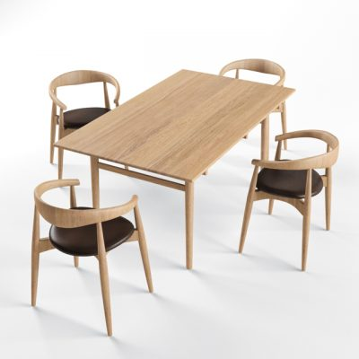 Carl Hansen Table & Chair 3D Model
