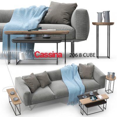 Cassina 206-8 Cube Sofa Set 3D Model
