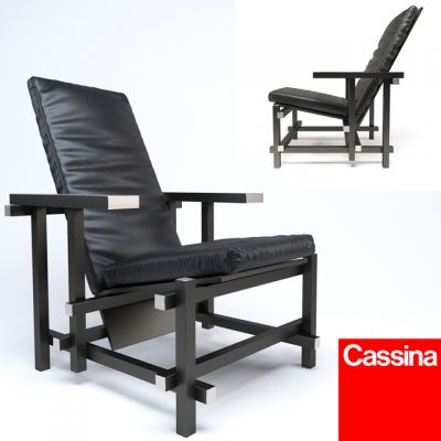 Cassina 635 Black Armchair 3D Model