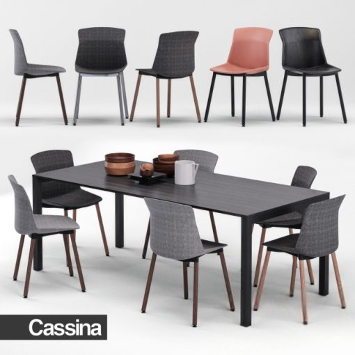 Cassina Naan Table & Chair 3D Model