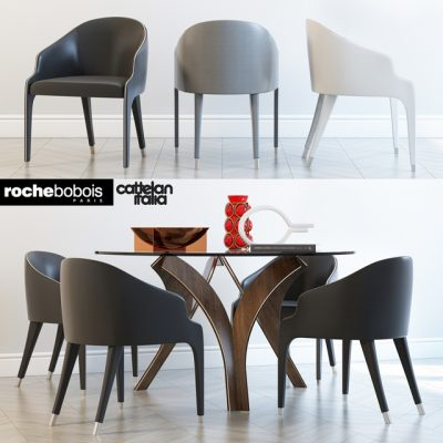 Catelan Italia and Roche Bobois-Cortina Steeple Bridge Table & Chair 3D Model