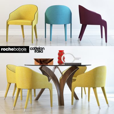 Catelan Italia and Roche Bobois-Cortina Steeple Bridge Table & Chair 3D Model