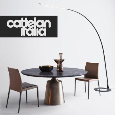 Cattelan Italia Table & Chair Set-01 3D Model