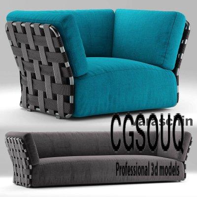 Chair Varaschin Victor Sofa 3D Model Outdoor Furniture 1