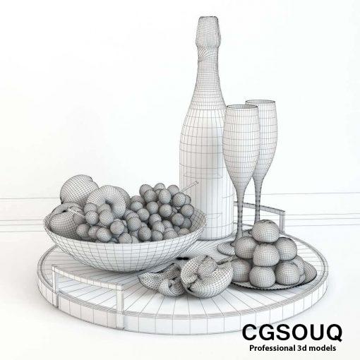 Champagne and Fruit Set 3D model (1)
