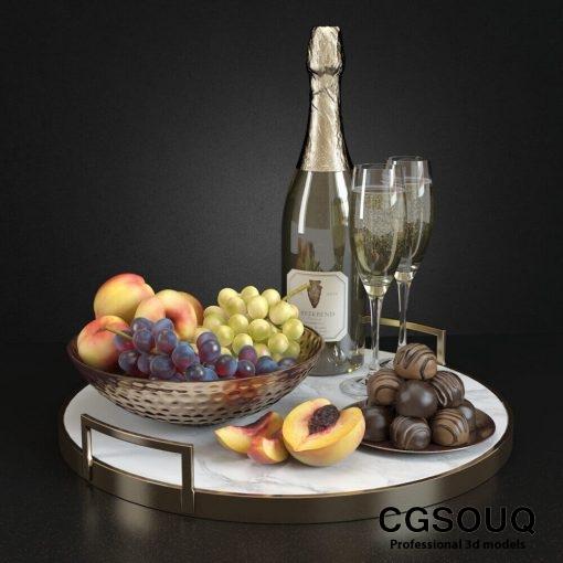 Champagne and Fruit Set 3D model (2)