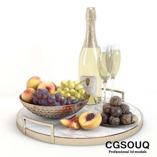 Champagne and Fruit Set 3D model (3)