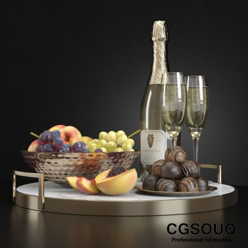 Champagne and Fruit Set 3D model (5)
