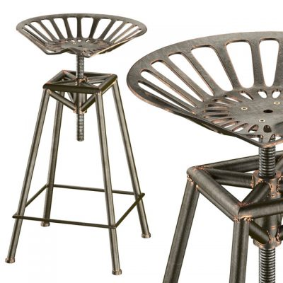 Charlie Industrial Metal Design Stool 3D Model