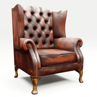 Chesterfield Queen Anne Armchair 3D Model