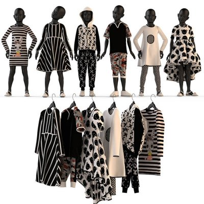 Children's mannequins and hangers 3D model