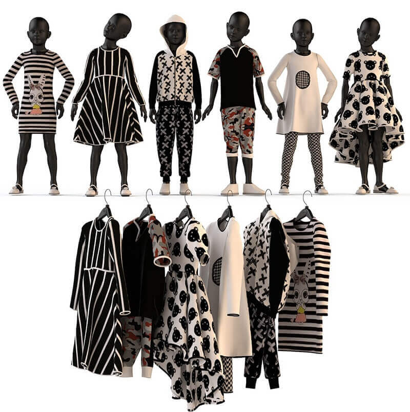 Children's clothing on mannequins and hangers set 3d model