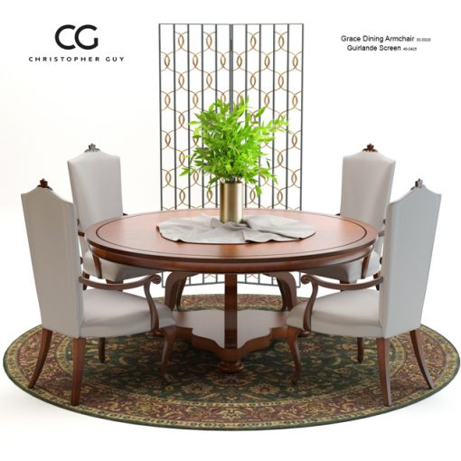 Christopher Guy Grace Dining Table & Chair 3D Model