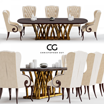 Christopher Guy Rain Forest Table & Chair 3D Model