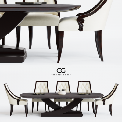 Christopher Guy Table & Chair Set-01 3D Model