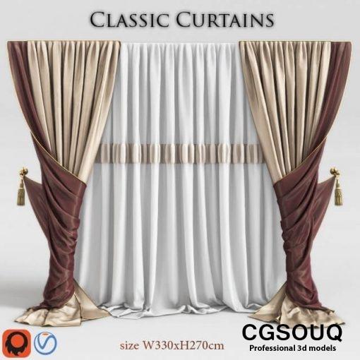 Classic Curtain 2 3D model 2