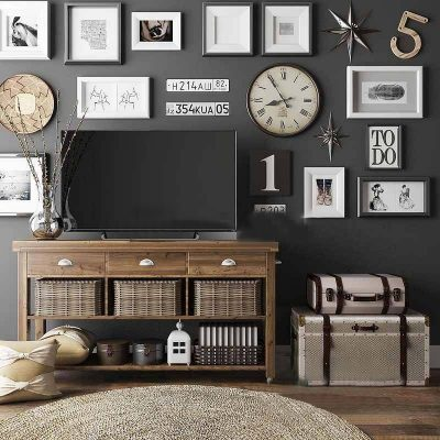 Classic TV Cabinet with Decor Accessories 3D Model