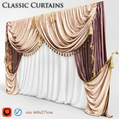 Classic curtain 03 3D model 02