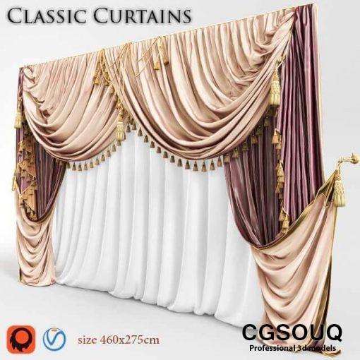 Classic curtain 03 3D model 02