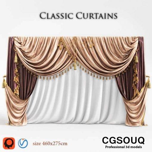 Classic curtain 03 3D model