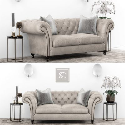 Club Chesterfield Sofa Set 3D Model