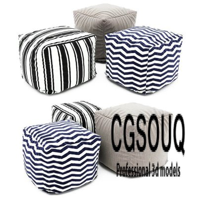 Collection of Pouf 3D model 1