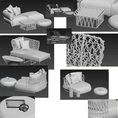 Collection of outdoor furniture 3d model main