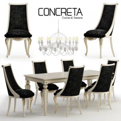 Concreta Cucina Arrogance Impero Dinner Table & Chair 3D Model