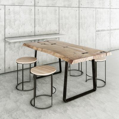 Concrete & Wood Table & Chair 3D Model