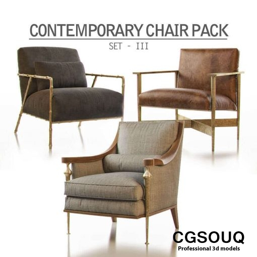 Contemporary Chair Pack - Set III 3D model 88