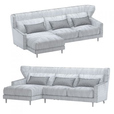 Corner Folk Sofa 3D Model 3