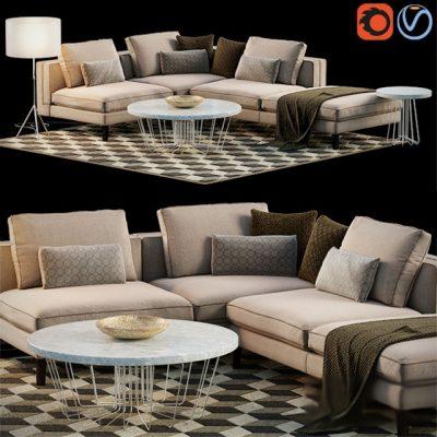 Corner Sofa Set 3D Model