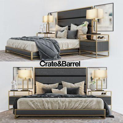 Crate And Barrel Oxford Bed 3D Model