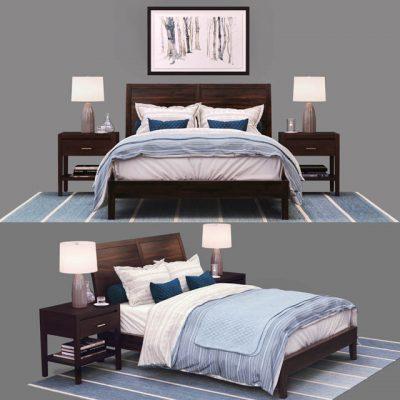 Crate & Barrel Dawson Clove Queen Sleigh Bed 3D Model