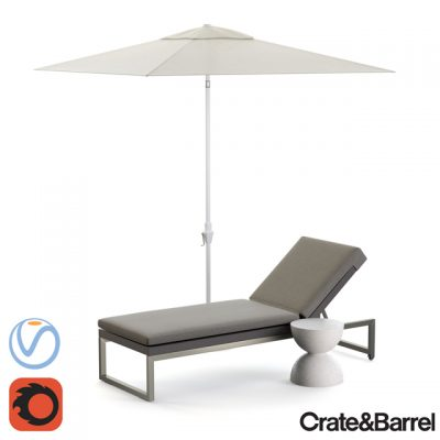 Crate & Barrel Dune Lounge Chaise 3D Model